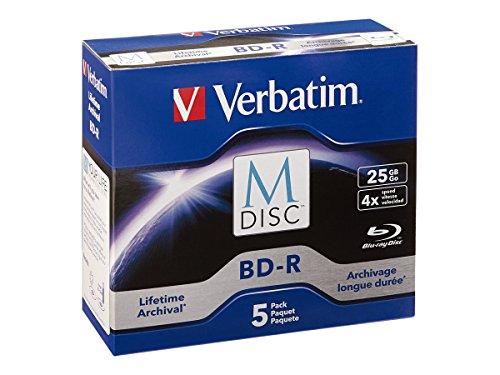 Verbatim 98900 M-Disc BD-R 25GB 4X mit Markenoberfläche, 5 Stück gebrandmarkt, BD-R 25GB 5-Disc Jewel Case blau