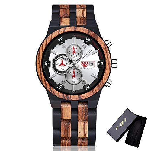 Reloj de Madera para Hombre, cronógrafo de Cuarzo de 6 Pines, Fecha, Reloj multifunción, Reloj de Pulsera de Madera Completo, Tipo Grande para Hombre