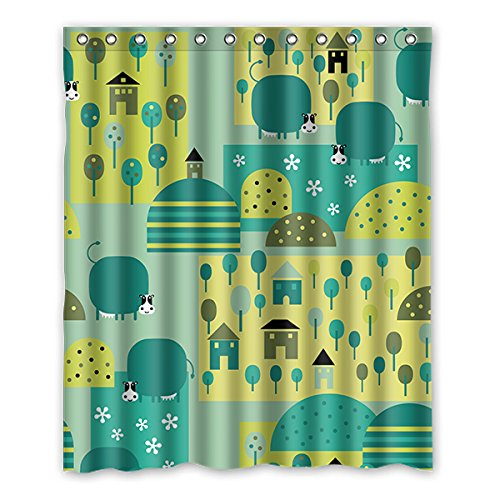 Einmal Young Cartoon Schweine Muster Custom Grau Wasserdicht Polyester-Badezimmer-Dusche Vorhang 152,4x 182,9cm (152cm x 183cm), Polyester, J, 152,4 x 182,9 cm