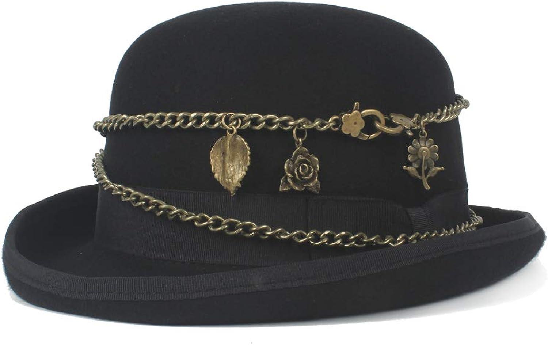 YUXUJ Wool Women Men Black Bowler Hat Metal Chain Retro Steampunk Elegant Crushed Dome Hat Hat
