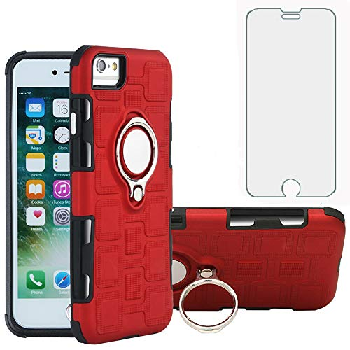 Phone Case for Apple iPhone 6plus 6splus 7plus 8plus i 6/6s/7/8 Plus with Tempered Glass Screen Protector Cover Stand Ring Holder Hybrid Cell iPhone6splus i Phone7s 7s 7+ 8s 8+ Phones8 6+ i6 6s+ Red
