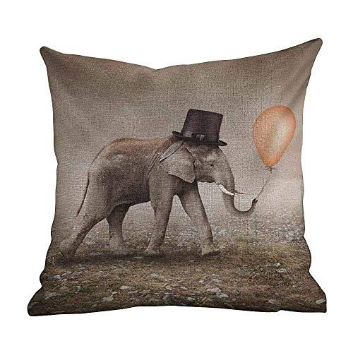 Funda de almohada personalizada de moda para decoración del hogar Elefante, elefante ilusionista con sombrero negro Globo mágico Arte surrealista de ensueño, marrón pardo marrón negro naranja, persona