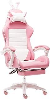 Silla De Escritorio Gamer Profesional, Silla ergonómica para juegos de dormitorio con reposabrazos ajustables, reposacabezas y almohada lumbar, silla de juegos de oficina reclinable hasta 150 ° rosa