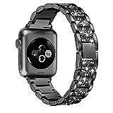XZZTX Cinturino Bling Compatibile con Cinturino Apple Watch 38mm 42mm Serie iWatch 4 3 2 1, Cinturino da Polso da Donna con Cinturino in Strass con Diamanti in Acciaio Inossidabile,Nero,42mm/44mm