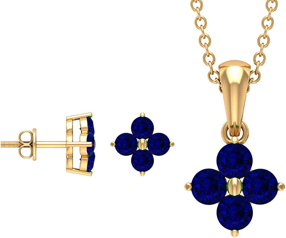 Gold Pendant Set with Earrings, 4 MM Lab Created Blue Sapphire Jewelry Set, Flower Jewelry Set