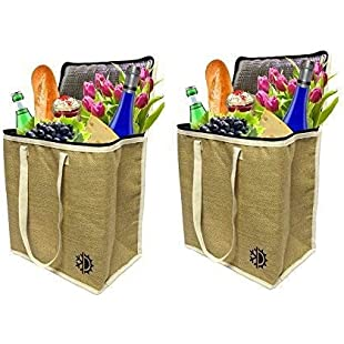 Customer reviews Earthwise Large Jute Insulated Shopping Grocery Bags W Zipper Top Lid Thermal Cooler Tote Keeps Food Hot Or Cold ( Set Of 2 )