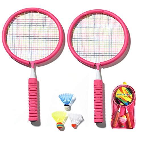 tidystore Badmintonschläger, Leichtes Badminton-Set Für Kinder Inklusive 1 Badminton-Tasche / 2 Schläger / 3 Badminton-Farben(Rosa Schläger)