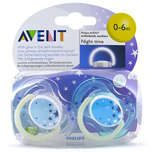 Avent Night Time Soother - Pack doble (0-6 m), color azul