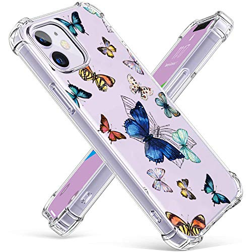 ZDO iPhone 12 Clear Butterfly Case - Fashion Design with Butterfly Transparent Silicone Drop Protection Best Gift for Women Girls Protective Phone Flexible Case for iPhone 12-8