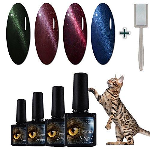 JOLIGEL Kit 4pcs Esmaltes Semipermanentes Magnéticos Gel de Uñas Efecto Ojo de Gato Cola de Cometa 3D Elegante Espejo, viene con Imán para Manicura, Sistema Soak-off, Serie Verde & Granate & Azul 06