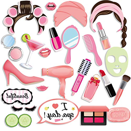 Qpout Accesorios de la Foto de Fiesta SPA (25 Piezas), Accesorios para Fotos de Fiesta Niñas Maquillaje Selfie Props Fiesta de cumpleaños Decoración de Regalos para Niñas Mujeres es