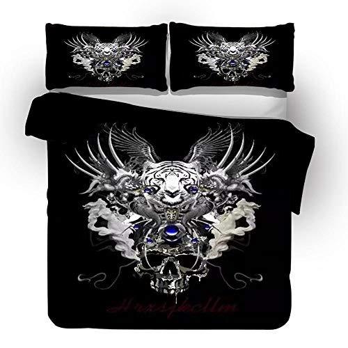 LJJYF Juego de Ropa de Cama,3D Printed Polyester Cotton Skull Bedding Set, Double Duvet Cover and Pillowcase, Children's Bedroom, Super King Size Bed-A7_259*229cm(3pcs)