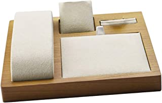 Prettyia Wood Jewelry Trays, Drawer Jewelry Organizer Trays for Showcasing & Storing Earrings, Bracelets, Necklaces and Rings - Beige, 15x15x2cm