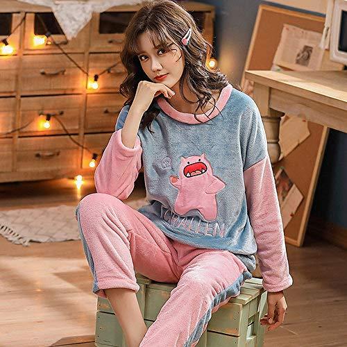 WDDYYBF Pijamas Mujer,Otoño Invierno Cálido Pijamas Set para Mujeres Hogar Animal Cerdo Impresión Thicken Flannel Mujeres Pajama Sets Long Pant Set Damas Pijamas Ropa De Hogar,XL