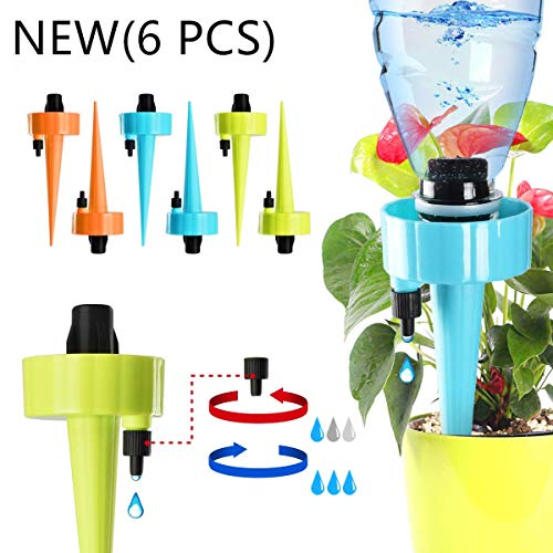 EIETC Plant Waterer Self Watering Spikes System with Slow Release Control Valve Switch Automatic Vacation Drip Irrigation Watering Devices Care Your Indoor & Outdoor Home Office Plants-12 Pack