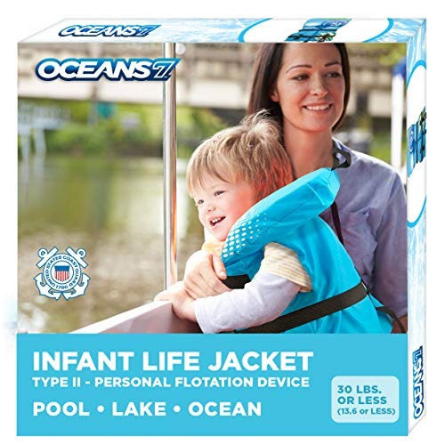 Oceans 7 Us Coast Guard Approved, Infant Life Jacket, Type II Vest, PFD, Personal Flotation Device, Flex-Form Chest, Blue/White, Blue/White - Infants, 8-30 lbs.
