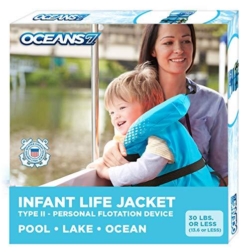 Oceans 7 Us Coast Guard Approved, Infant Life Jacket, Type II Vest, PFD, Personal Flotation Device, Flex-Form Chest, Blue/White, Blue/White – Infants, 8-30 lbs.