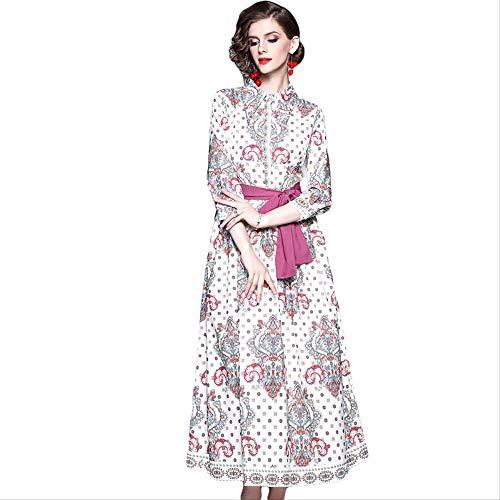 Driekwart Mouw Zomerjurk Vintage Patroon Dot Print Bow Sash Maxi Jurk Dames Holiday Party Wear Lange Jurk
