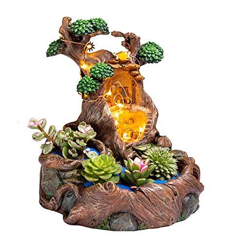 Doolland Micro Landscape Blumentopf Kunstharz Sukkulenten Pflanzen, kleine Bonsai Topf Vase Mikro-Landschaft Blumentopf Garten Dekoration mit LED String