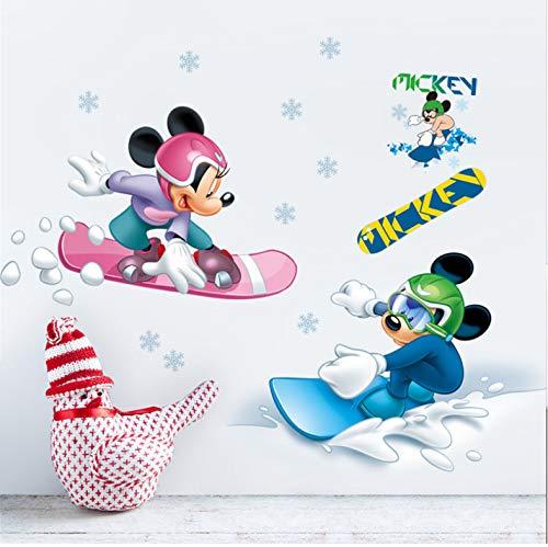 Disney Mickey Minnie Go Ski Stickers Muraux Chambre Chambre D'Enfant Décorations À La Maison De Bande Dessinée Stickers Muraux Pvc Art Mural Posters 40X60 Cm