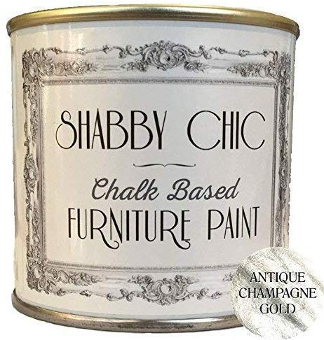 Shabby Chic Furniture Chalk Paint: Chalk Based Furniture and Craft Paint for Home Decor, DIY Projects, Wood Furniture - Chalked Interior Paints with Rustic Matte Finish - Liter - Antique Champagne