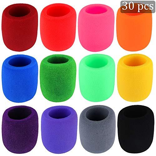 30 Pack Thick Handheld Stage Microphone Windscreen Foam Cover Karaoke DJ (12 Color)
