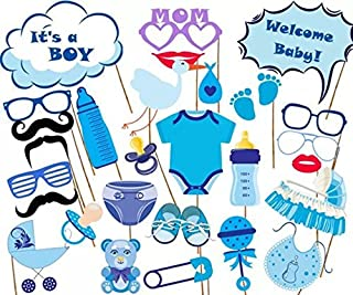 Dtzzou It's A Boy Baby Shower Photo Booth Props 27pcs Funny DIY Kits Photo Mask for Baby Birthday Party