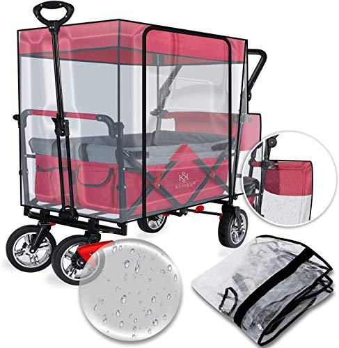 KESSER® Regenschutzhülle Regenschutz Zubehör passend für GT9000 Faltbarer Bollerwagen wasserdicht, Winddicht, durchsichtig, belüftet, Eva-Material