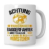 Pagma Druck Bagger Tasse, Baggerfahrer Geschenk, Geschenkidee für Baumaschinenführer und Bagger Fahrer Becher, Kaffeetasse Baumaschinen Baggerführer Baustelle