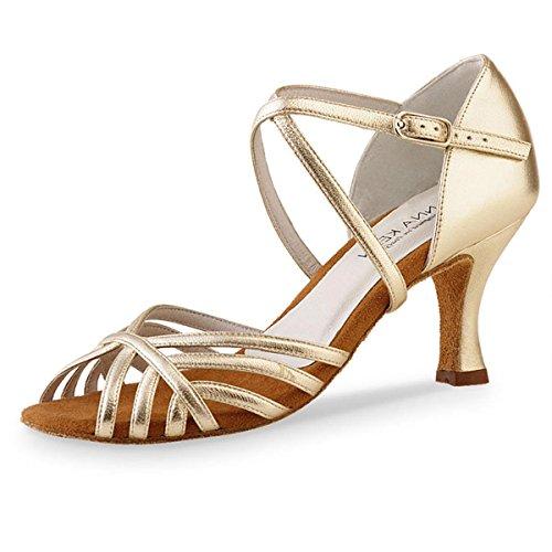 Anna Kern Damen Tanzschuhe 598-60 - Material: Leder - Farbe: Gold - Größe: UK 6