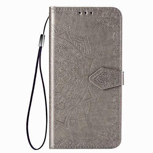 VGANA Custodia Compatibile con Xiaomi Poco M3, Cover a Portafoglio in Pelle Elegante Motivo Goffrato Datura con Card Solt e Chiusura Magnetica. Grigio