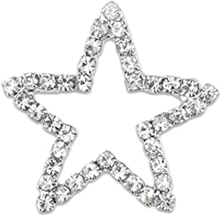 PinMart Silver Plated Shiny Rhinestone Star Brooch Pin