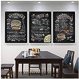 Hxsrjcc Nordic Burger Pizza Snack Poster Lienzo De Arte De Pared Para Impresión De Pared Imágenes Estéticas Restaurante Hotel Decoración (60X80Cmx3Pcs) Sin Marco