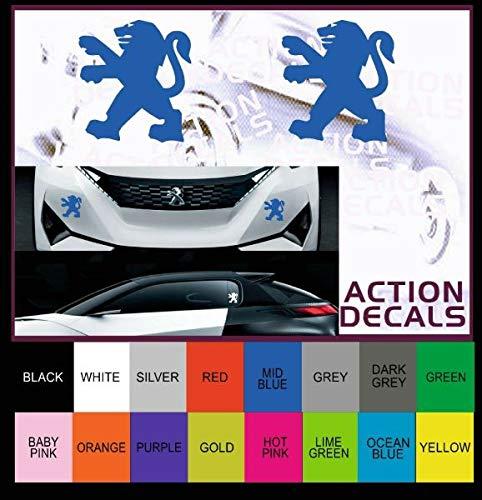 myrockshirt Peugeot Löwe 2er Set ca 10 cm Aufkleber,Sticker,Decal,Autoaufkleber,UV&Waschanlagenfest,Profi-Qualität