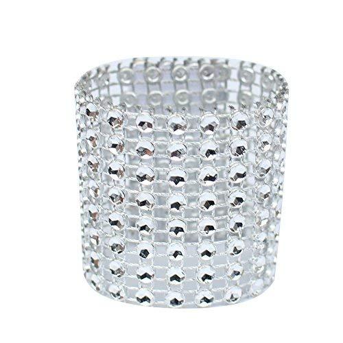 DYL & CDAI 8 rijen zilver diamant rond 50 stuks handdoek, diamanten servetring netartikel/handdoek kunststof ring hotel party bruiloft evenement