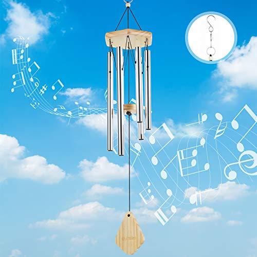 Lemecima Windspiel Garten Klangspiel für Draußen Glockenspiel Windspiel mit Drehbare Haken Klare Stimme 6 Rohre Windspiel Metall für Heimdekoration Geschenk Einfache Installation