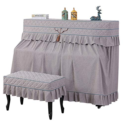 Read About Piano cover European Style Piano Towel Cover Towel Simple Cotton Linen Dust Cover Full Cover Half-Open Stool Cover (Color : Gray, Size : Single Bench)