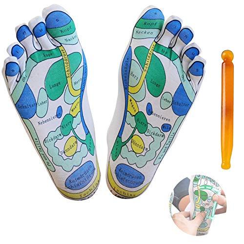 Akupressur Reflexzonen Socken - Fußmassage Reflexionsbereich Schematische Socken - Reflexzonen Zonen Markierte Socken, Fußakupressur-Massage Hilfssocken für Physiotherapie-Massage und Entlastung