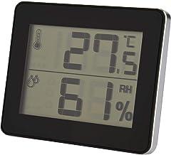 Lazmin Termostato Digital de la habitación, Sensor de Humedad de la Temperatura del termómetro del Clima inalámbrico Digital al Aire Libre Interior con LCD Grande (黑色)