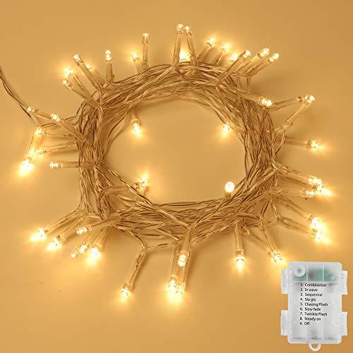 Opard 120LED Lichterkette Batterienbetrieben mit Timer 12M 8 Modi, IP65 Wasserdicht für Innen Außen Weihnachten Zimmer Bett Hochzeit Party Schlafzimmer Weihnachtsbaum