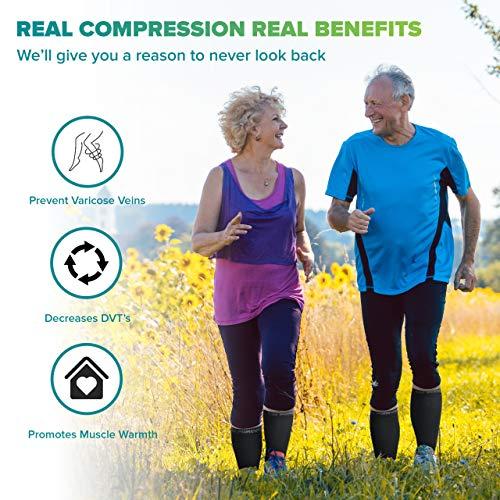 Calf Compression Sleeves - Leg Compression Socks for Runners, Shin Splint, Varicose Vein & Calf Pain Relief - Calf Guard Great for Running, Cycling, Maternity, Travel, Nurses (Black,Medium)