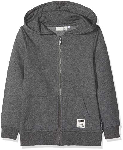 NAME IT Jungen Sweatjacke NKMHORAZ BRU SWE CARD WH NOOS Grau (Dark Grey Melange), 122