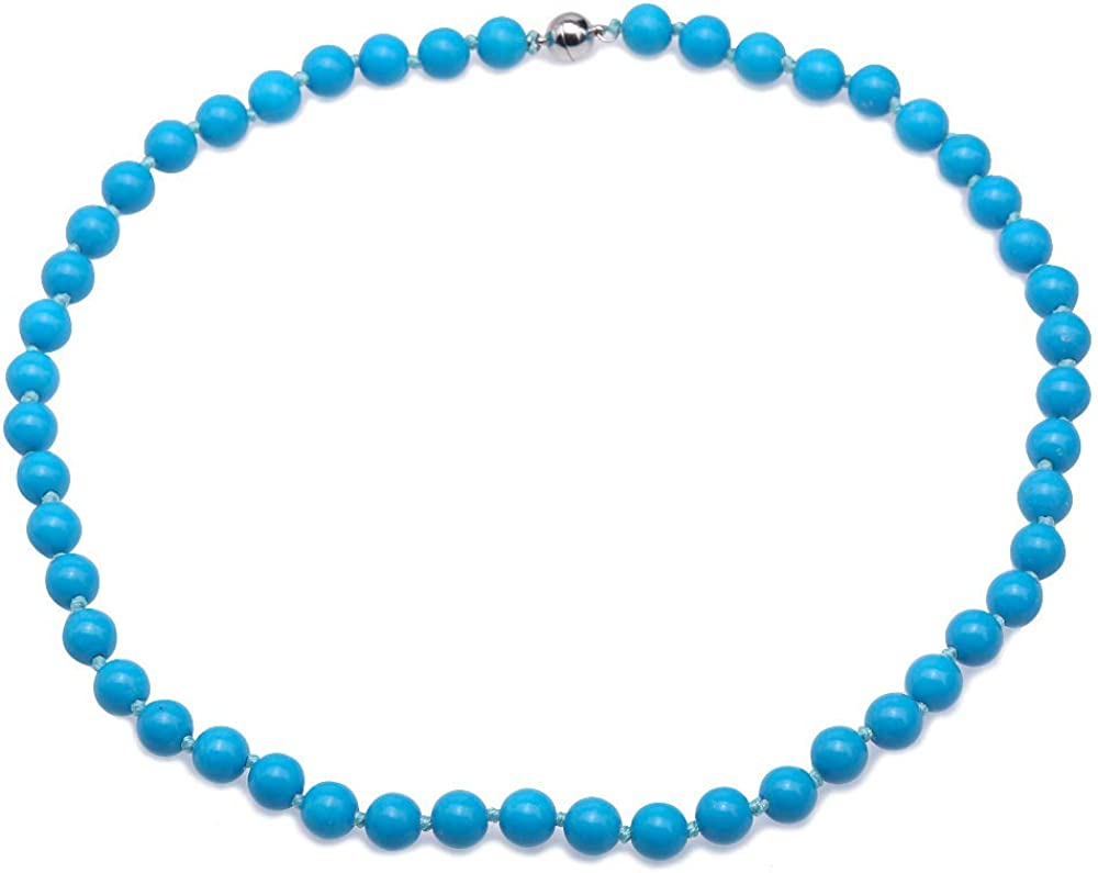 JYX Pearl Necklace 8.5mm Blue Round Turquoise Necklace Single Strand Gemstone Jewelry for Women 19