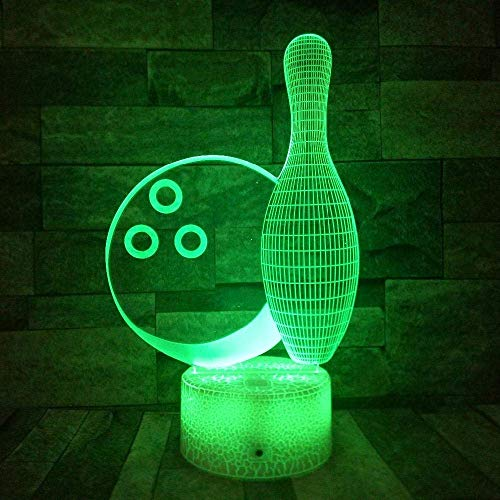 3D Illusion Lamp Led Night Light Bowling 7 Color Touch Remote Table Lamp Lights Kids Home Decor White Crack Base