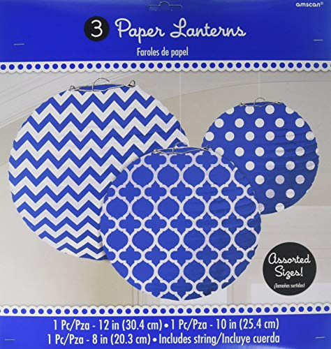 Royal Blue Printed Paper Lanterns (3ct)