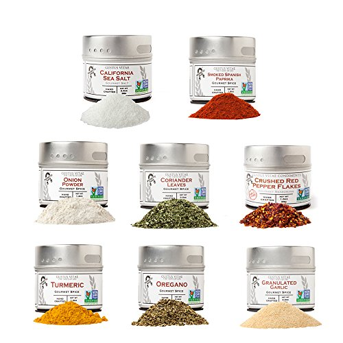 Pantry Starter Kit   Non GMO   Gourmet Spices And Salt   8 Small Batch Herbs & Spices   Handpacked in Magnetic Tins   Gustus Vitae   #214