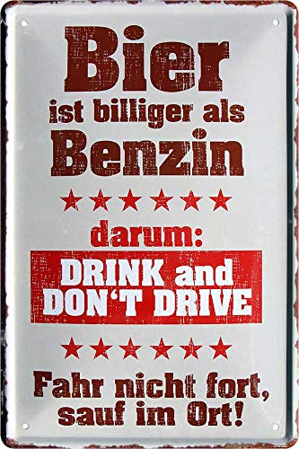 """Blechschilder Bier lustiger Spruch: """"Bier ist billiger als Benzin"""" Deko Schild Bar-Schild Theke 20x30 cm"""