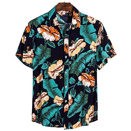Manga Corta Hombre Shirt Verano Floral Estampado Modernos Hombre Casuales Camisas Cuello V Manga Corta Playa Shirt Ajuste Regular Causales Vacaciones Suelta Hawaii Camisa CS134 XXL