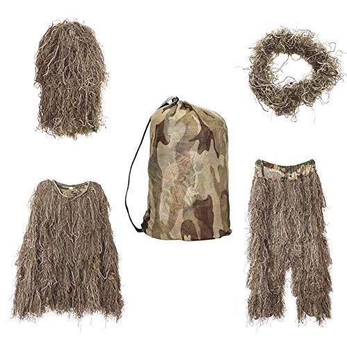 Bseical Ghillie Suit, Tarnanzug Jagd Wald - Wüste, Tarnkleidung Jagd Paintball Airsoft Sniper Camouflage Set Tarn Hose Jacke, Ghillie Zubehör Tarnumhang (wüste, Free)