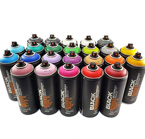 Montana BLACK 400ml Complete Artist Set of 24 Aerosol Spray Paint kit for Professional Crafting Graffiti Street Art Murals and Stencils